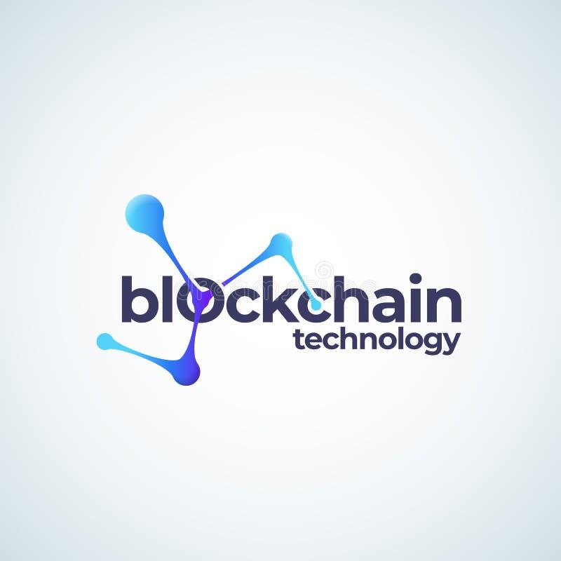 Blockchain技术Absrtract传染媒介标志、标志或者商标模板 与现代的被连接的球形链梯度象 向量例证