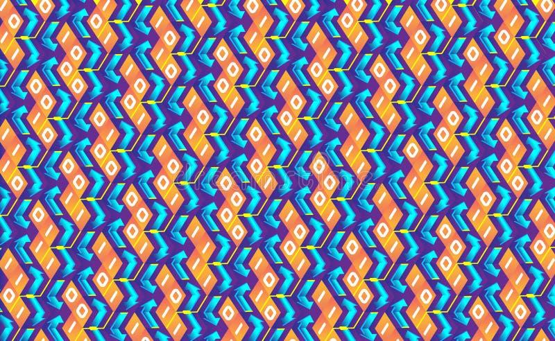Blockchain概念等量横幅 互相的二进制数连接塑造隐藏链子 立方体,块连接 皇族释放例证