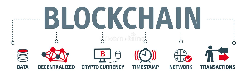 Blockchain概念象集合 向量例证