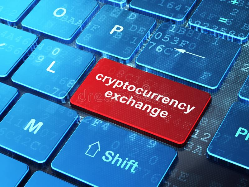 Blockchain概念:在键盘背景的Cryptocurrency交换 皇族释放例证