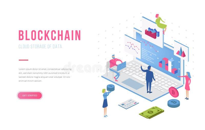 Blockchain现代平的设计等量登陆的页模板 Cryptocurrency和人概念 r 皇族释放例证