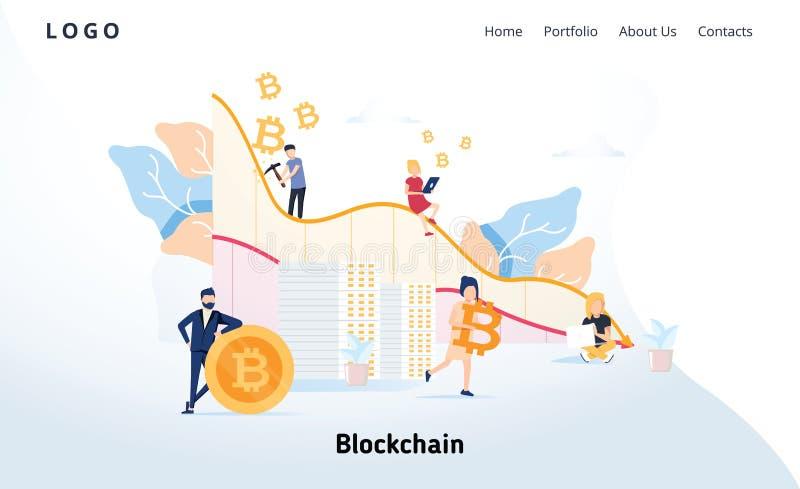 Blockchain现代平的设计观念 Cryptocurrency和人概念 着陆页模板 概念性隐藏网 向量例证