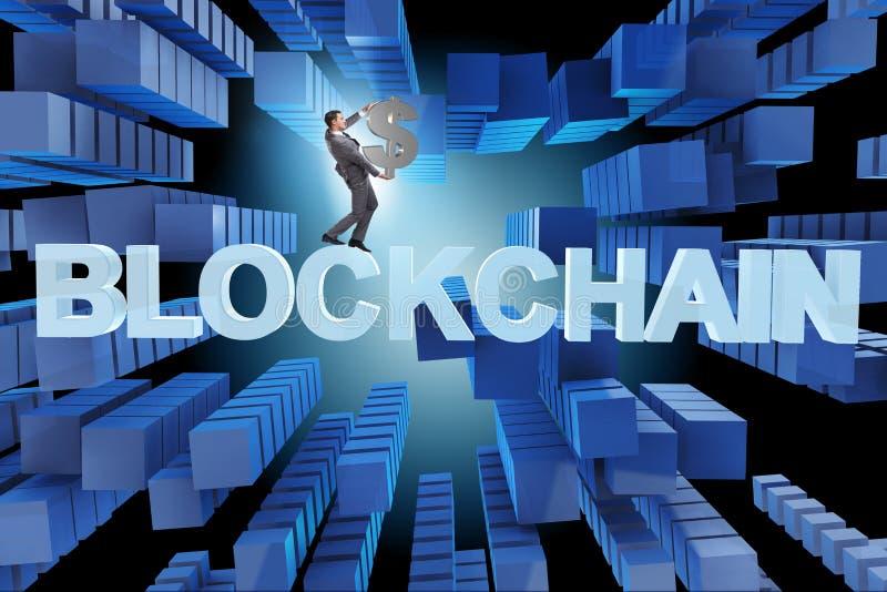 blockchain的概念在现代事务的 库存例证