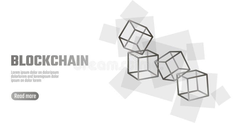 Blockchain立方体在方形的代码大数据流信息的链子标志 灰色白色中立介绍样式 皇族释放例证