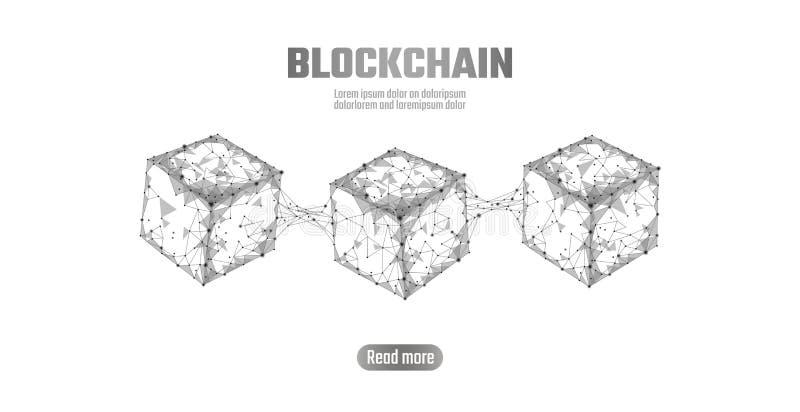 Blockchain立方体在方形的代码大数据流信息的链子标志 灰色白色中立介绍样式 向量例证