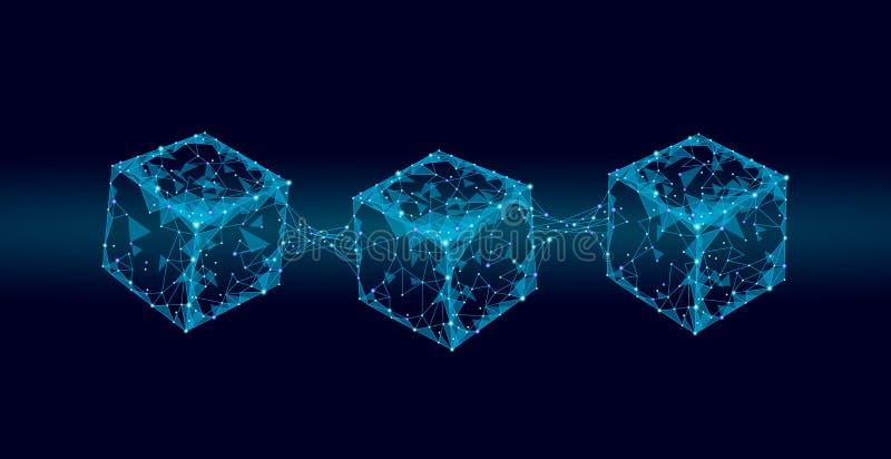 Blockchain立方体在方形的代码大数据流信息的链子标志 蓝色氖发光的现代趋向 Cryptocurrency 向量例证