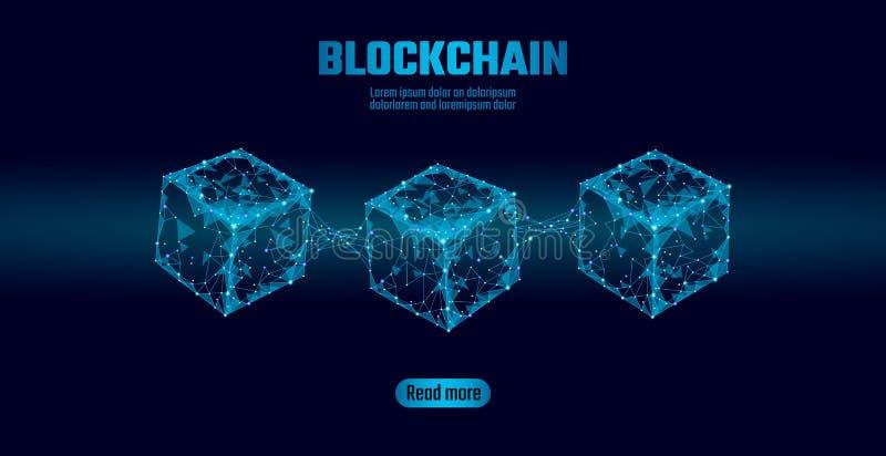 Blockchain立方体在方形的代码大数据流信息的链子标志 蓝色氖发光的现代趋向 Cryptocurrency 库存例证