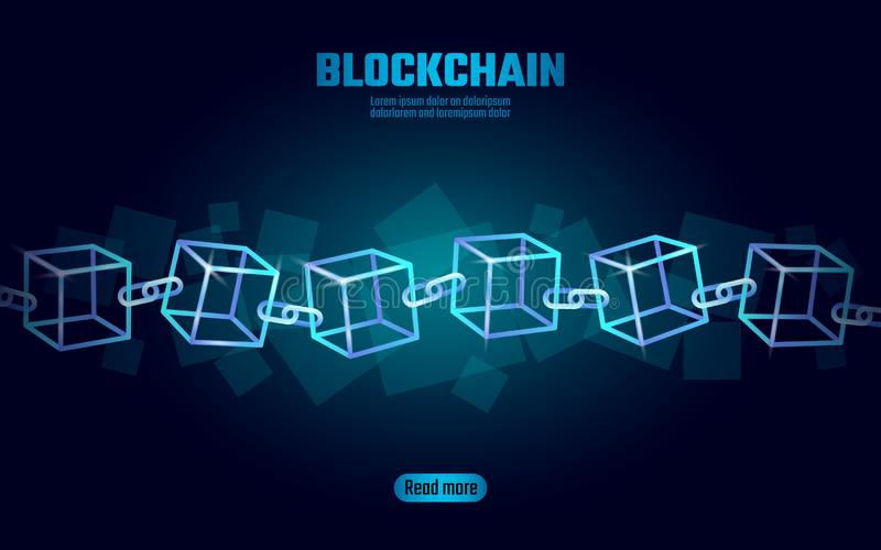 Blockchain立方体在方形的代码大数据流信息的链子标志 蓝色氖发光的现代趋向 Cryptocurrency 皇族释放例证
