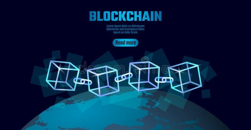 Blockchain立方体在方形的代码大数据流信息的链子标志 蓝色霓虹发光的行星地球地球 皇族释放例证