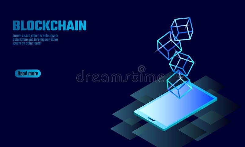 Blockchain立方体在智能手机小配件屏幕上的链子标志 蓝色氖发光的现代趋向 Cryptocurrency财务bitcoin 向量例证