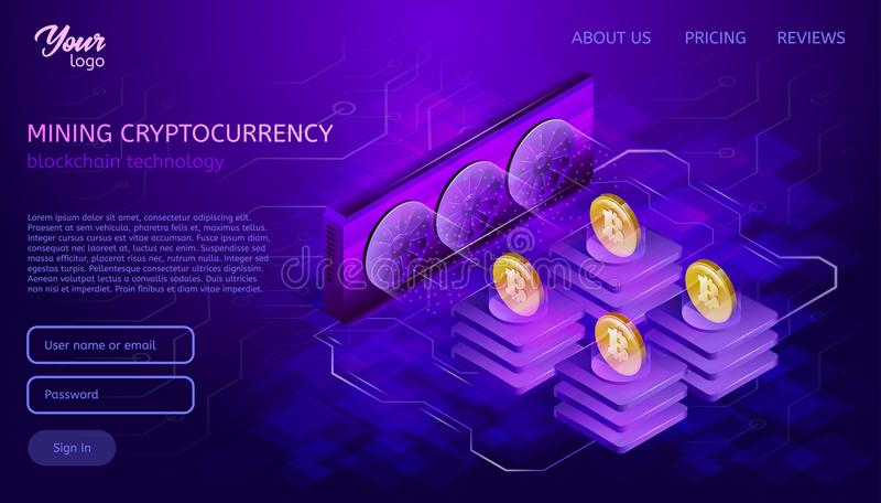 Blockchain系统或技术 采矿过程 Bitcoin cryptocurrency服务器农场 向量例证