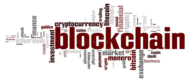 Blockchain词云彩 向量例证