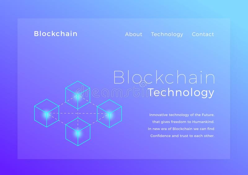 Blockchain隐藏技术 Blockchain概念等量传染媒介例证 着陆页设计 向量例证