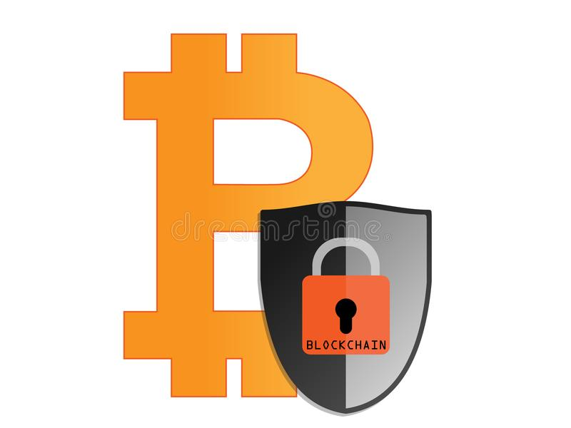 Blockchain,安全,挂锁,位硬币,真正金钱 免版税库存照片