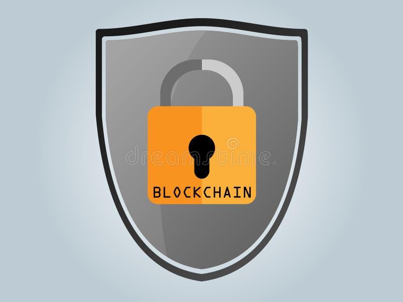 Blockchain,盾,安全,位硬币,挂锁 图库摄影