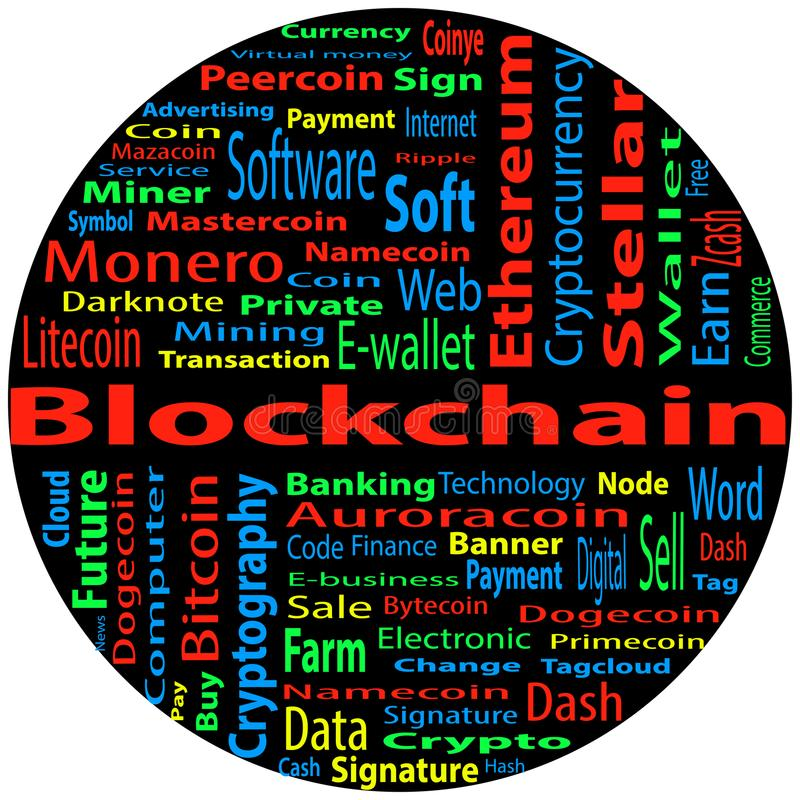 Blockchain,词在黑背景的云彩概念 皇族释放例证