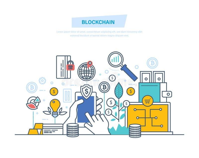 Blockchain,隐藏货币,金钱转交,安全交易, bitcoins系统  向量例证