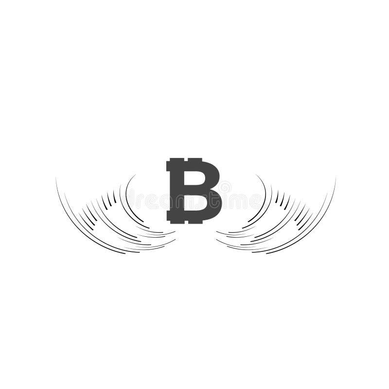 Blockchain валюты Bitcoin Cripto Логотип Bitcoin плоский на белой предпосылке Bitcoin с крылами иллюстрация вектора
