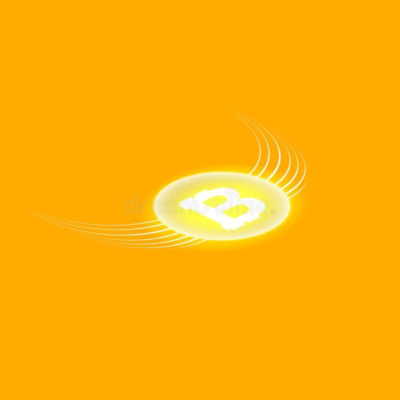 Blockchain валюты Bitcoin Cripto Логотип Bitcoin плоский на оранжевой предпосылке Bitcoin с крылами равновелико бесплатная иллюстрация