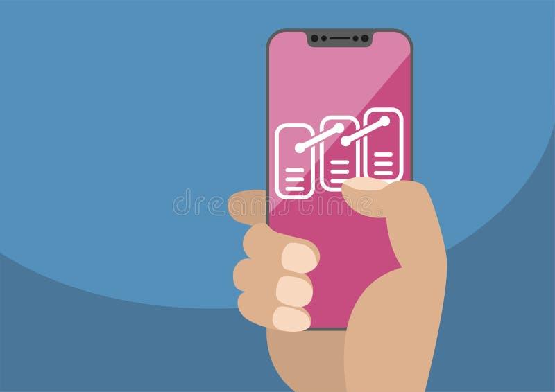 Blockchain или концепция модели данных на frameless сенсорном экране как иллюстрация Рука держа smartphone шатона свободный иллюстрация штока