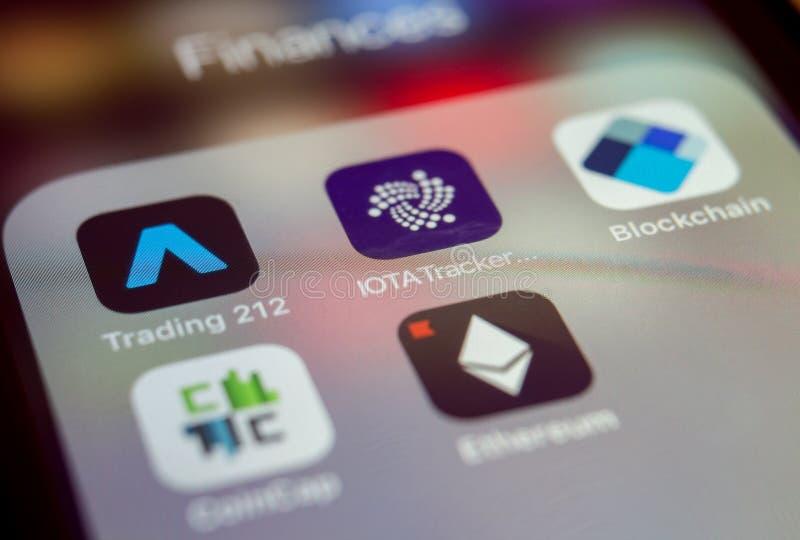 Blockchain-apps lizenzfreie stockfotografie