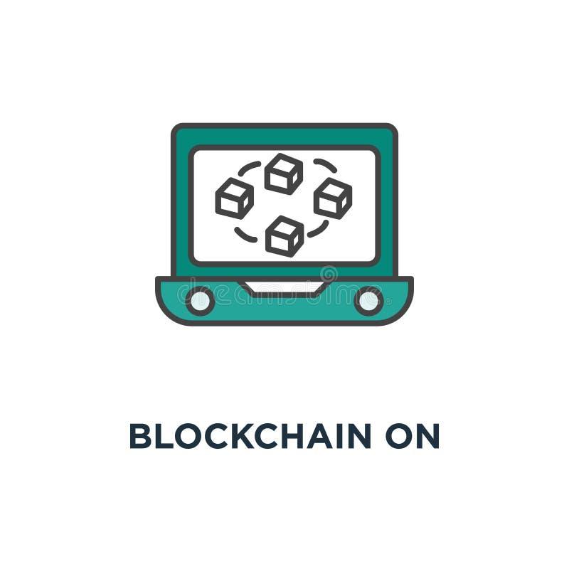 blockchain auf Laptopschirmikone verbundene Würfel auf der Anzeige, des Datenbankkonzept-Symbolentwurfs, Rechenzentrum, Schlüssel vektor abbildung