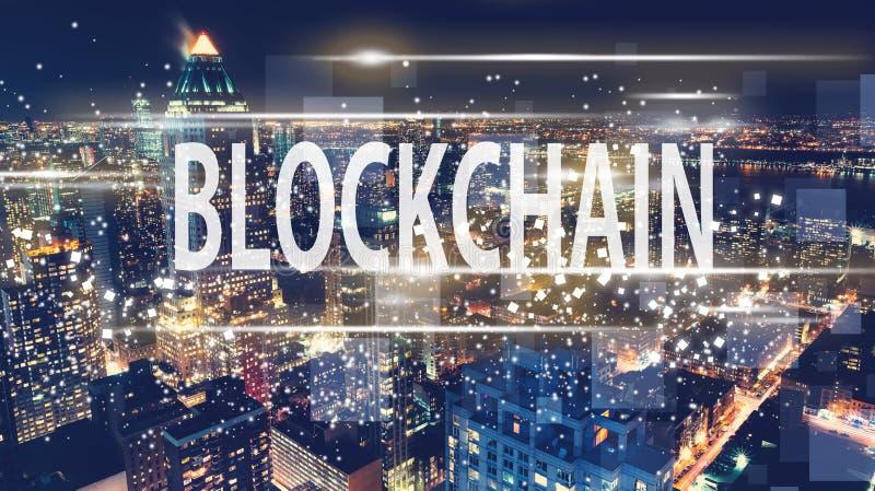 Blockchain avec l'horizon de New York City images libres de droits