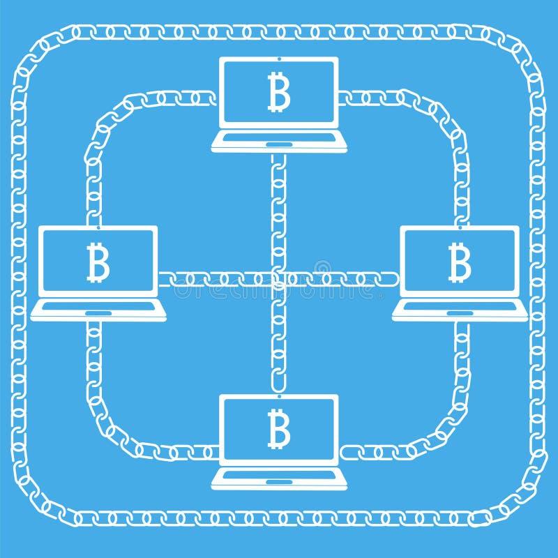 Blockchain bärbar datorbitcon royaltyfri illustrationer