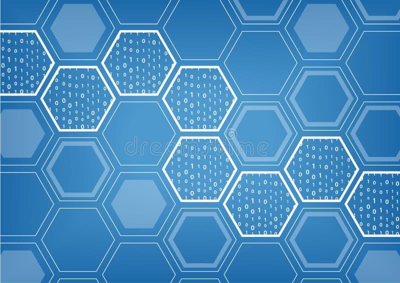 Blockchain błękitny tło z heksagonalnym kształtnym wzorem ilustracja wektor