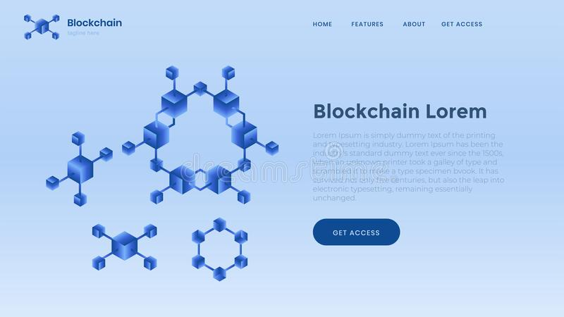 Blockchain background template. Finance and digital money. Crypto currency and bitcoin mining concept. vector illustration