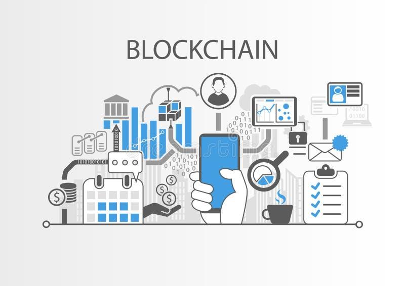 Blockchain bakgrundsillustration med smartphonen och symboler för hand den hållande stock illustrationer