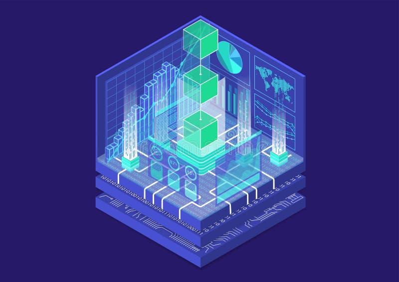 Blockchain begrepp med symbol av att sväva kvarter som isometrisk illustration för vektor 3d royaltyfria foton