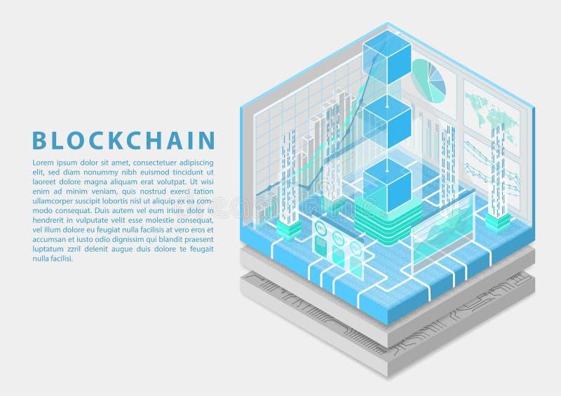 Blockchain begrepp med symbol av att sväva kvarter som isometrisk illustration för vektor 3d fotografering för bildbyråer