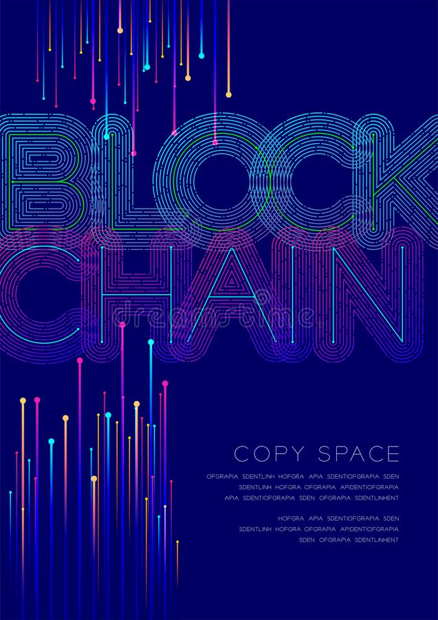 Blockchain big text dot and dash line pattern layer overlay, Poster banner or flyer template layout design illustration isolated. On blue background with copy royalty free illustration