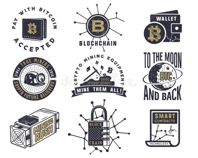 Blockchain, bitcoin, emblemas crypto de las monedas y conceptos fijados ilustración del vector