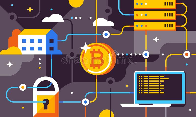 Blockchain and bitcoin mining technologies concept. Flat illustration for banner, flyer, social media or print. royalty free illustration