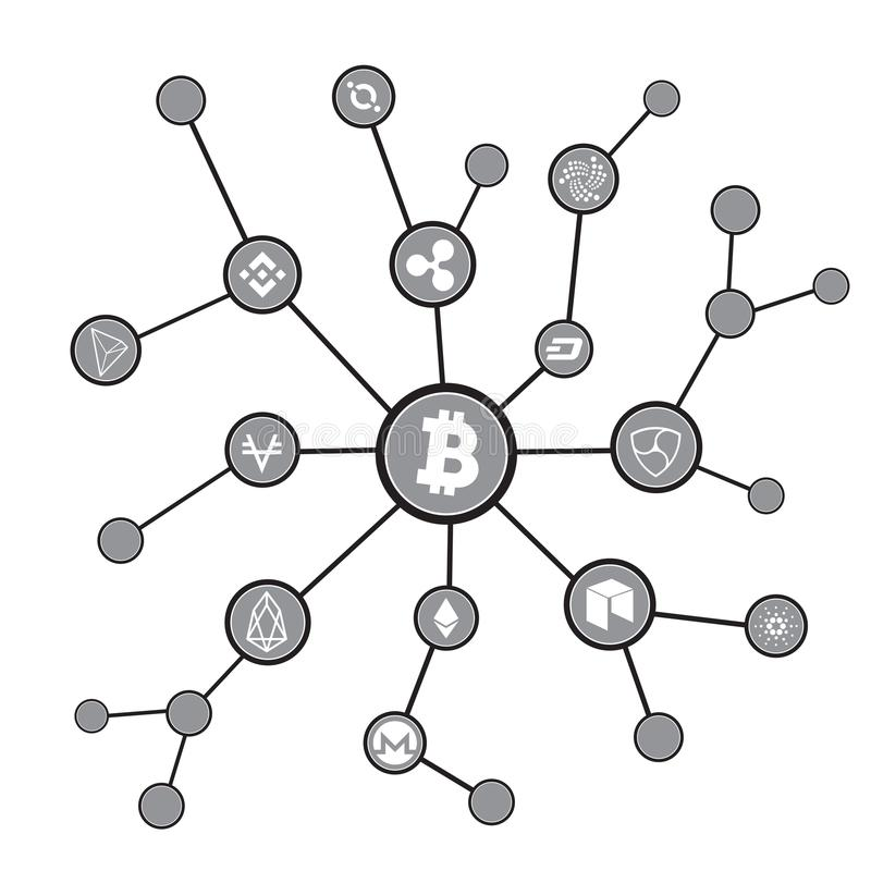 Blockchain blocks with cryptocurrency symbols. Bitcoin digital currency, money virtual cryptography illustration vector illustration