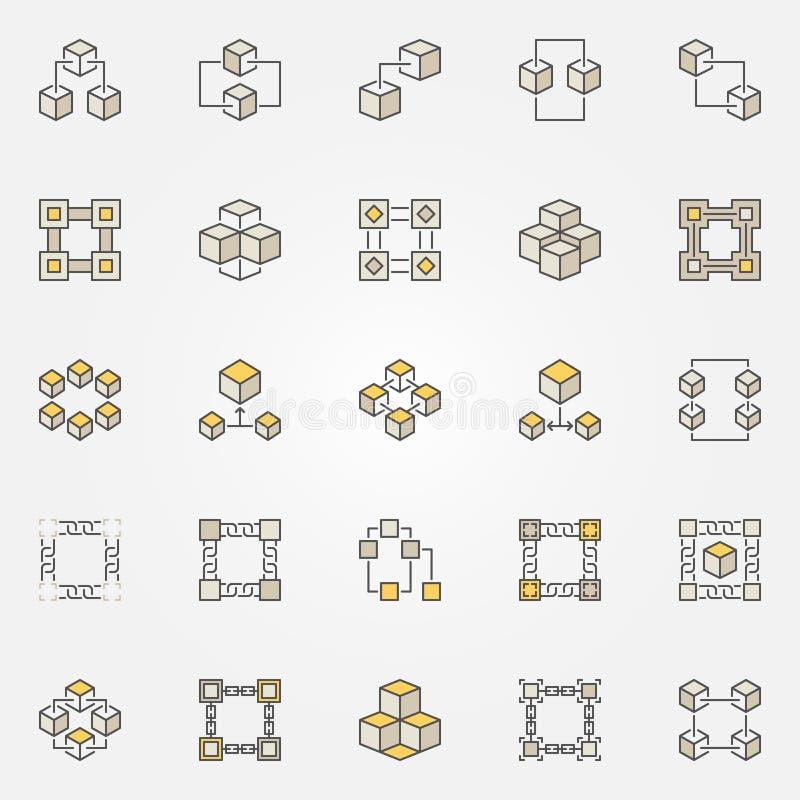 Blockchain coloreó iconos fijados Muestra de la tecnología de la cadena de bloque del vector ilustración del vector