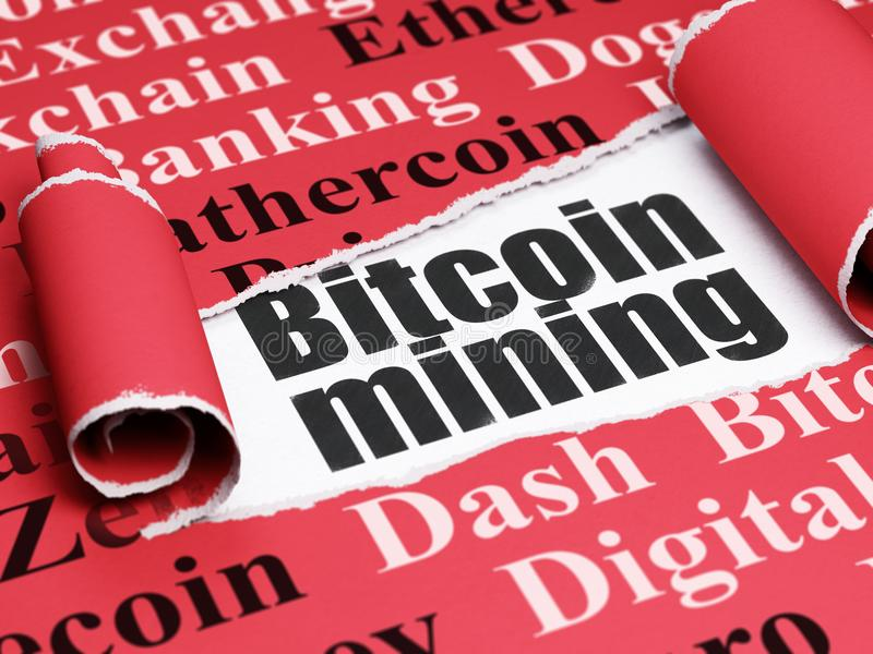 Blockchain concept: black text Bitcoin Mining under the piece of torn paper. Blockchain concept: black text Bitcoin Mining under the curled piece of Red torn vector illustration