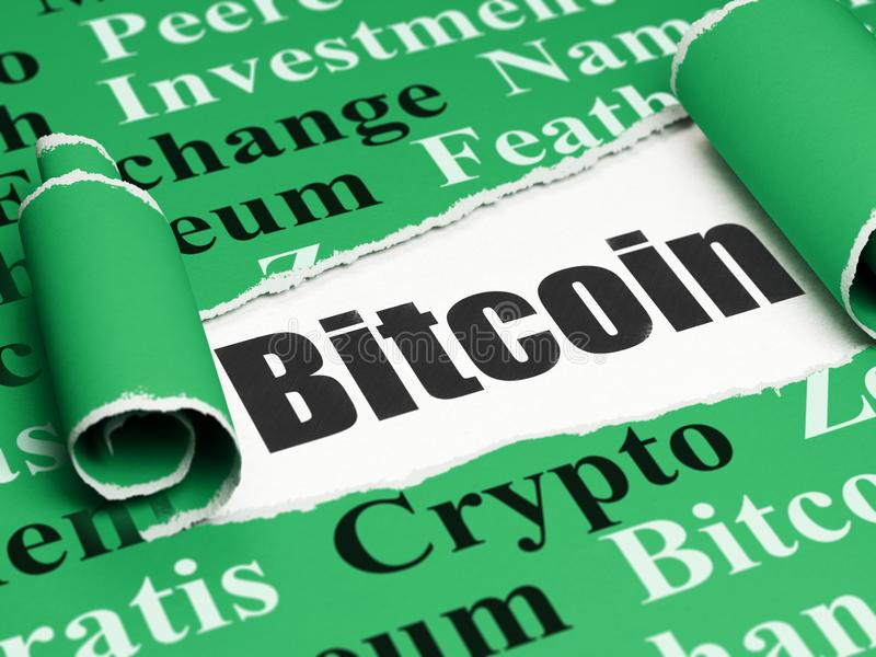 Blockchain concept: black text Bitcoin under the piece of torn paper. Blockchain concept: black text Bitcoin under the curled piece of Green torn paper with Tag vector illustration