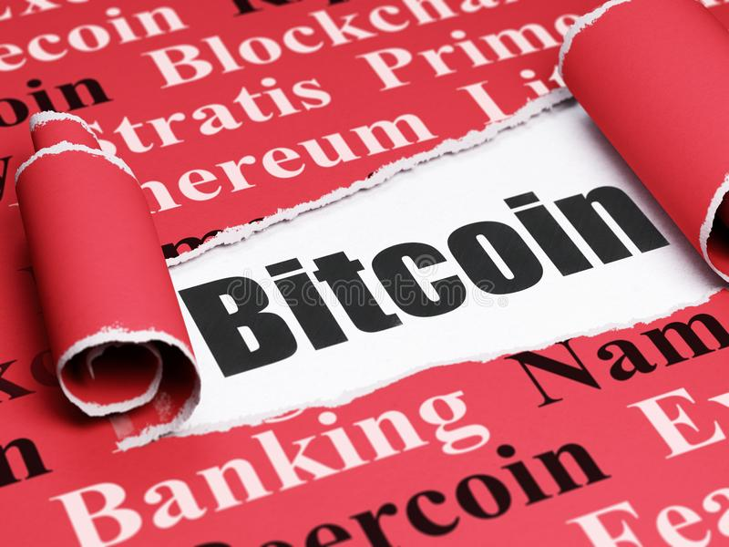 Blockchain concept: black text Bitcoin under the piece of torn paper. Blockchain concept: black text Bitcoin under the curled piece of Red torn paper with Tag stock illustration
