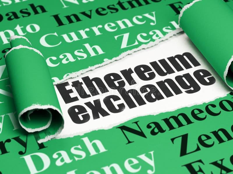 Blockchain concept: black text Ethereum Exchange under the piece of torn paper. Blockchain concept: black text Ethereum Exchange under the curled piece of Green stock illustration