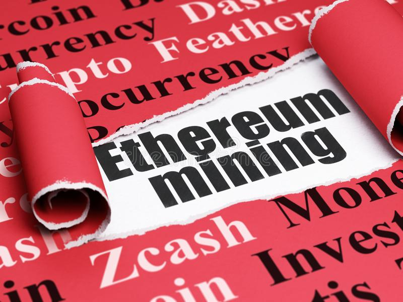 Blockchain concept: black text Ethereum Mining under the piece of torn paper. Blockchain concept: black text Ethereum Mining under the curled piece of Red torn royalty free illustration