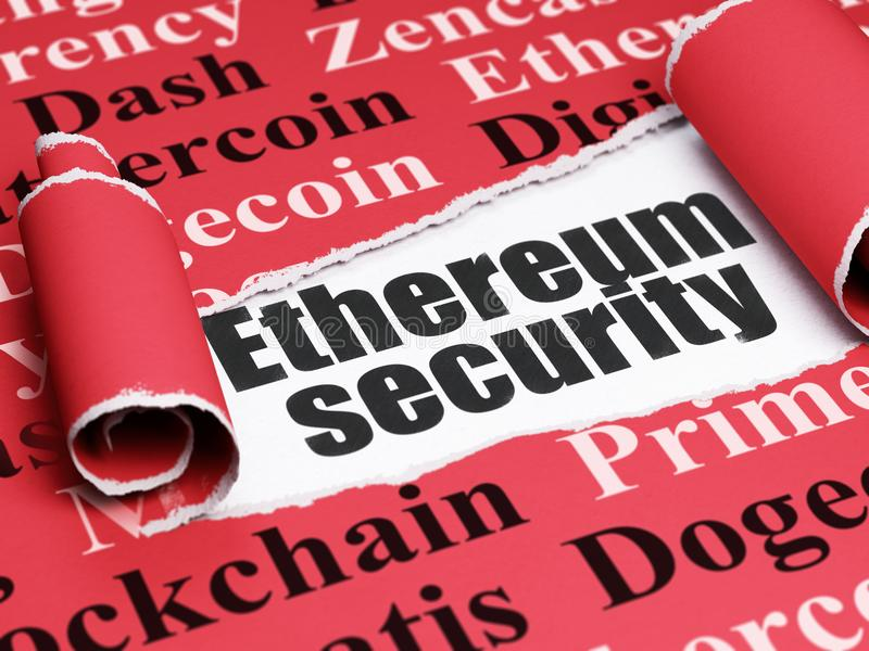Blockchain concept: black text Ethereum Security under the piece of torn paper. Blockchain concept: black text Ethereum Security under the curled piece of Red stock illustration