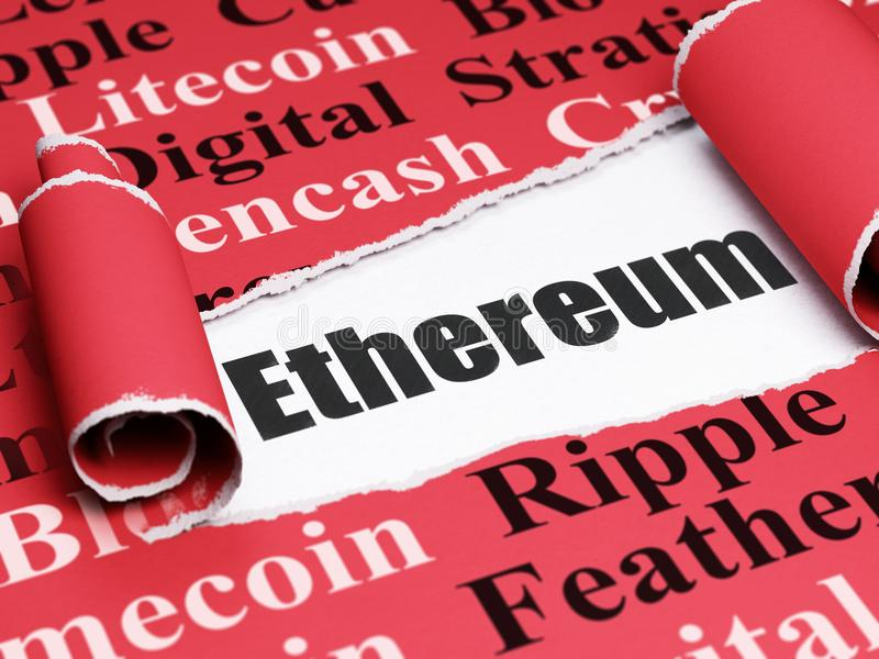 Blockchain concept: black text Ethereum under the piece of torn paper. Blockchain concept: black text Ethereum under the curled piece of Red torn paper with Tag stock illustration