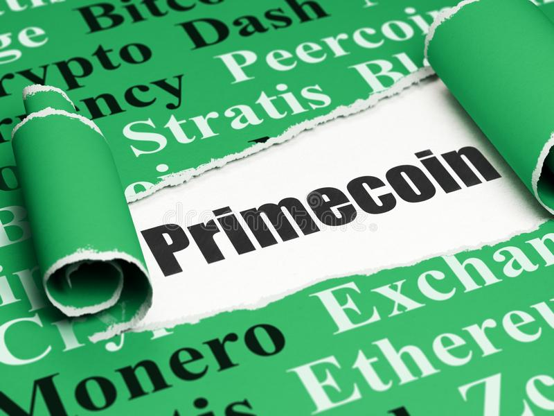 Blockchain concept: black text Primecoin under the piece of torn paper. Blockchain concept: black text Primecoin under the curled piece of Green torn paper with royalty free illustration