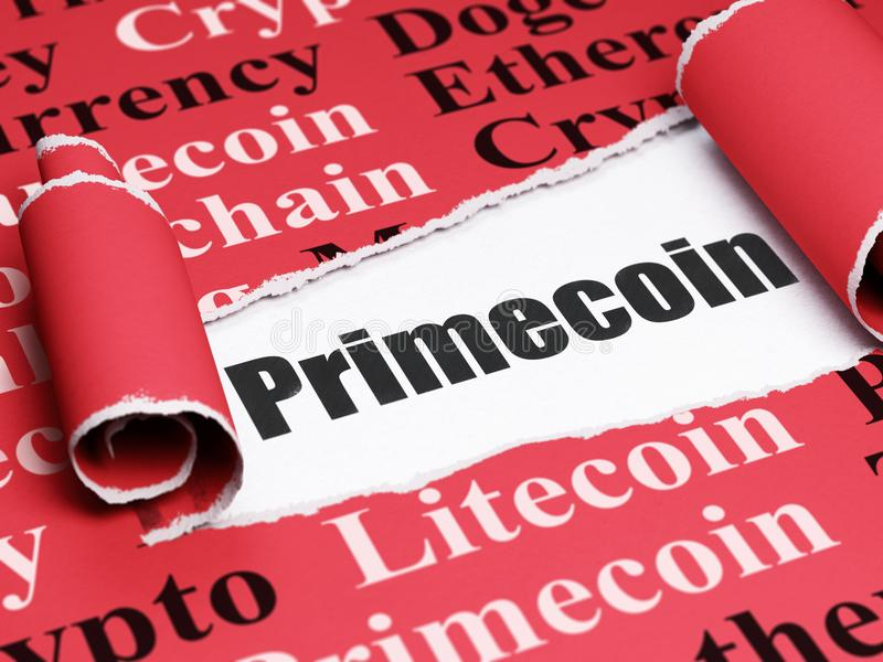 Blockchain concept: black text Primecoin under the piece of torn paper. Blockchain concept: black text Primecoin under the curled piece of Red torn paper with royalty free illustration