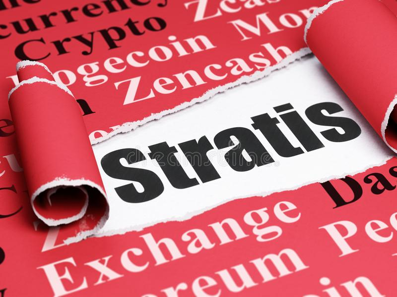 Blockchain concept: black text Stratis under the piece of torn paper. Blockchain concept: black text Stratis under the curled piece of Red torn paper with Tag stock illustration