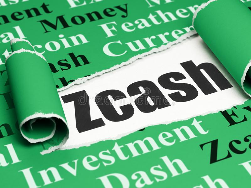 Blockchain concept: black text Zcash under the piece of torn paper. Blockchain concept: black text Zcash under the curled piece of Green torn paper with Tag stock illustration