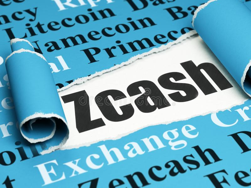 Blockchain concept: black text Zcash under the piece of torn paper. Blockchain concept: black text Zcash under the curled piece of Blue torn paper with Tag Cloud royalty free illustration
